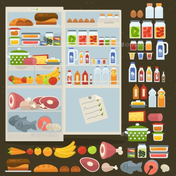 Refrigerator and Set of Food - Food Objects
