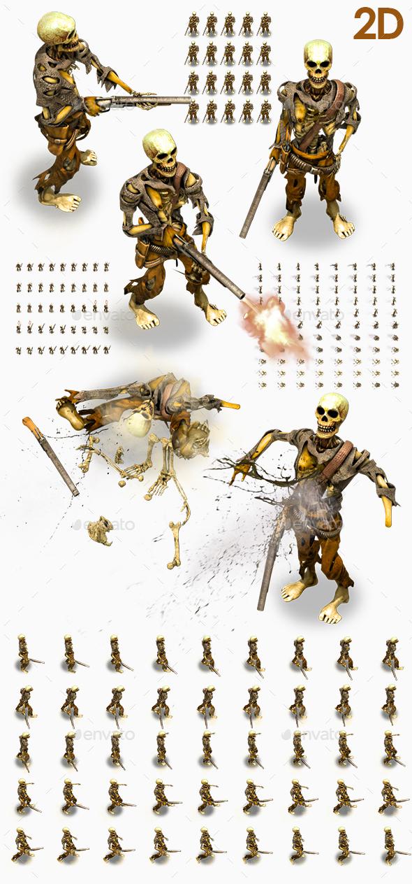 2D Cowboy Skeleton - Sprites Game Assets