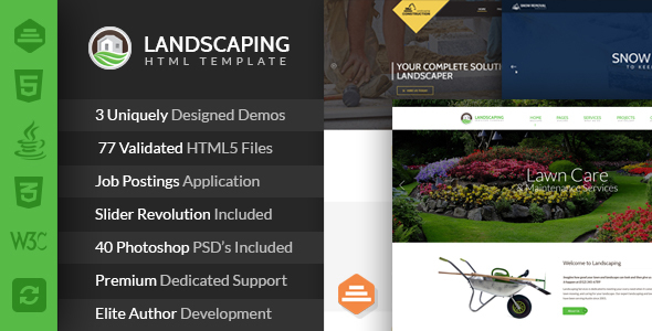 Landscaping - Lawn & Garden, Landscape Construction, & Snow Removal HTML Template - Business Corporate