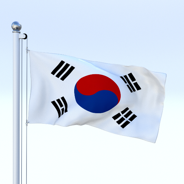 Animated South Korea Flag - 3DOcean Item for Sale