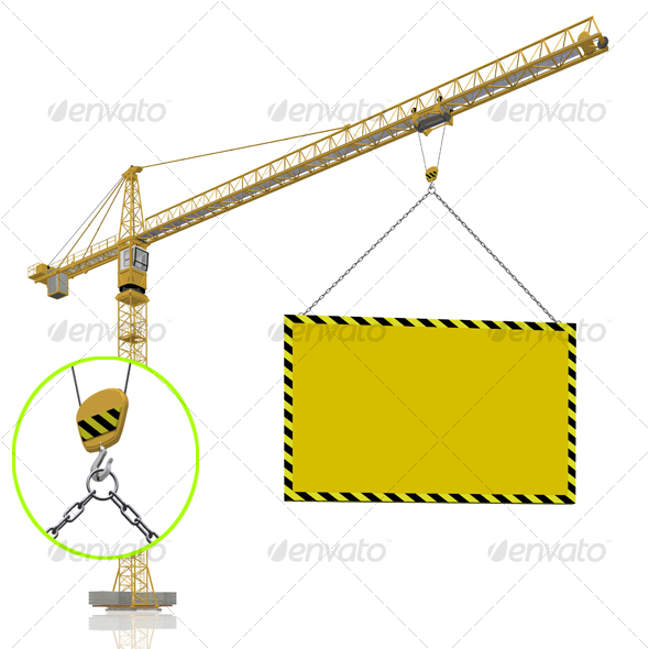 crane with blank banner - Objects 3D Renders