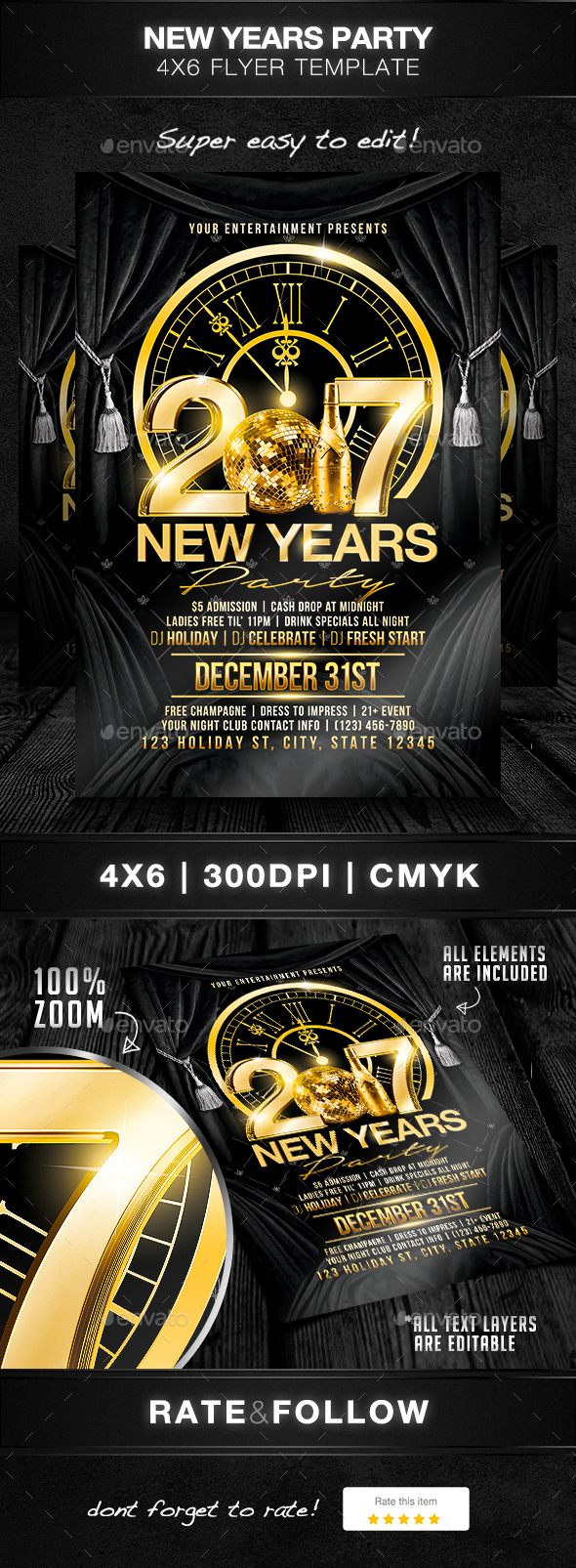 New Years Party Flyer Template - Holidays Events