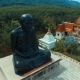 Aerial: Circling Around Monk Statue In Thai Temple. - VideoHive Item for Sale