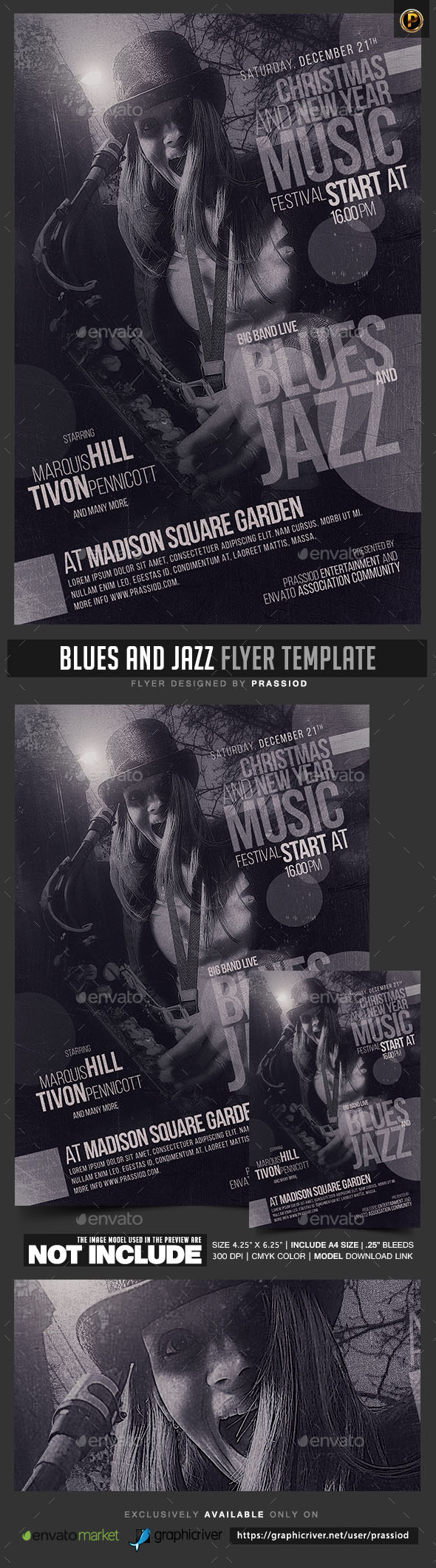 Blues And Jazz Flyer Template - Concerts Events