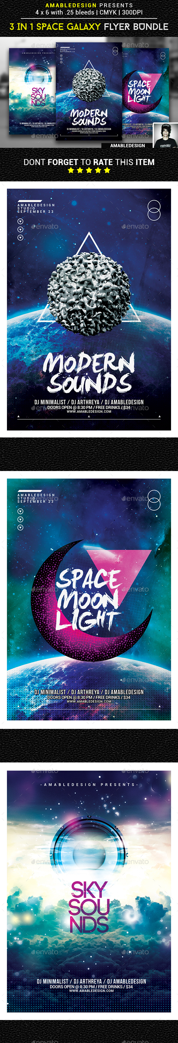 3 in 1 Space Galaxy Flyer/Poster Vol.6 - Events Flyers