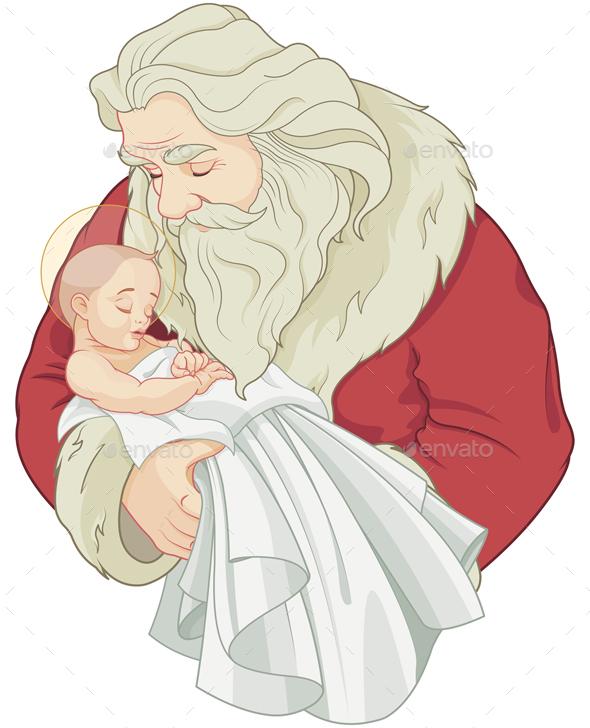Santa and Baby Jesus - Christmas Seasons/Holidays