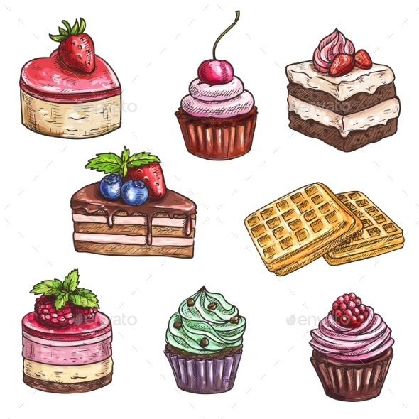 Dessert Cakes, Cupcakes Isolated Vector Sketch - Birthdays Seasons/Holidays