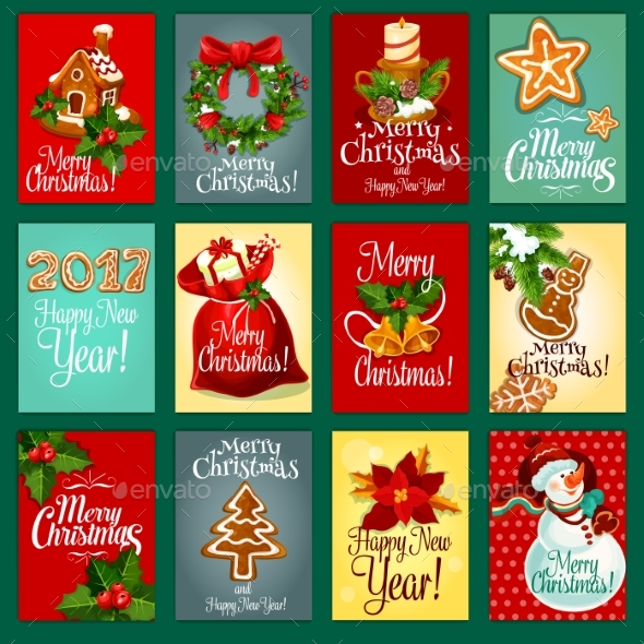 Christmas And New Year Holiday Greeting Card Set - Christmas Seasons/Holidays