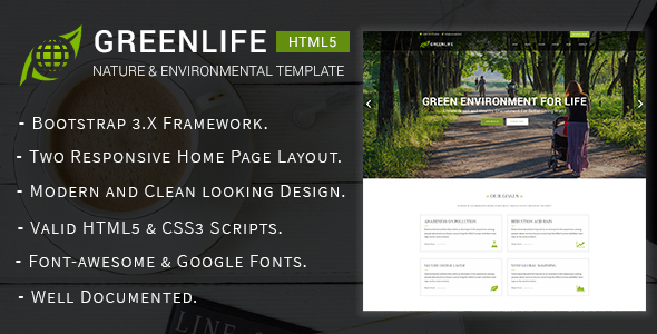 Greenlife – Nature & Environmental Non-Profit HTML5 Template