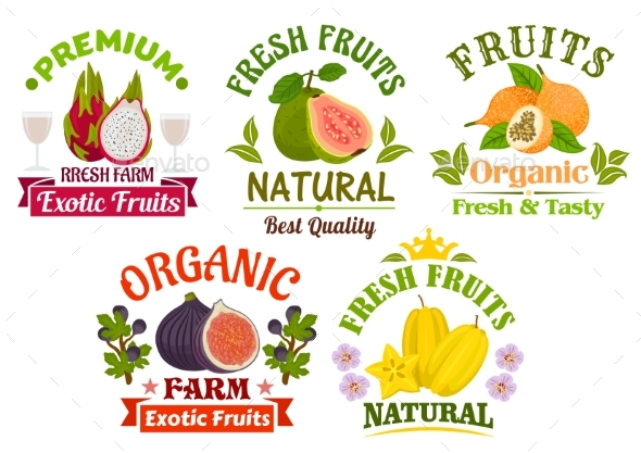 Fresh Juicy Natural Organic Fruits Icons Set - Food Objects
