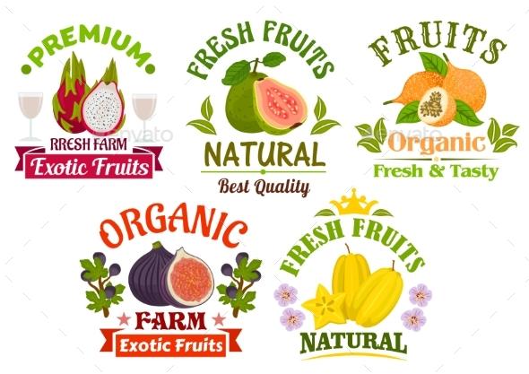 Fresh Juicy Natural Organic Fruits Icons Set - Food Objects