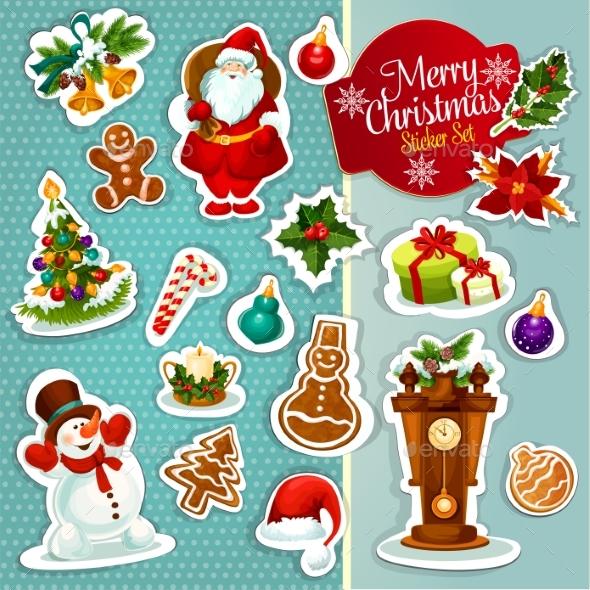 Christmas Sticker Icon Set For Xmas Design - Christmas Seasons/Holidays