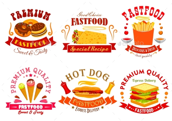 Fast Food Menu Icons, Labels, Emblems Set - Food Objects
