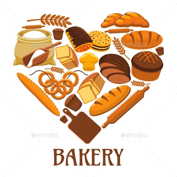 Bakery Heart Sign Of Bread, Pastry, Dessets - Food Objects