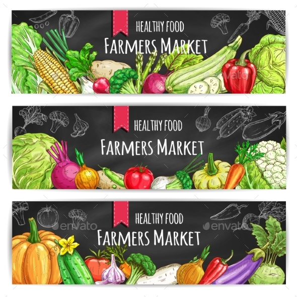 Vegetables. Vegetarian Food Vector Banners - Food Objects