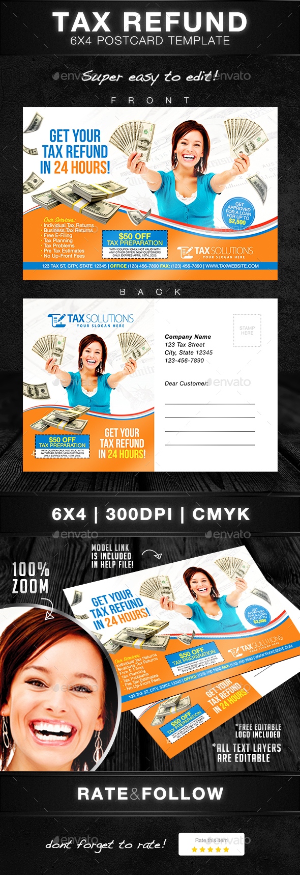 Tax Return Postcard Template - Print Templates