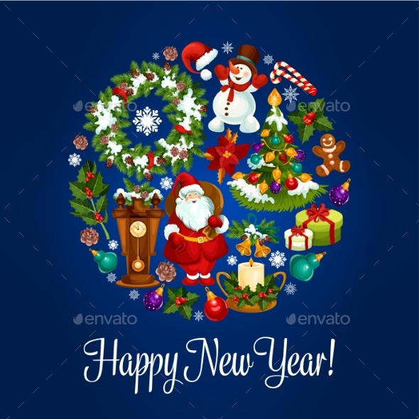 New Year Round Poster For Winter Holidays Design - Christmas Seasons/Holidays