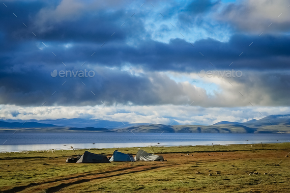 Tents pitched on the shore of Lake Manasarovar - Stock Photo - Images