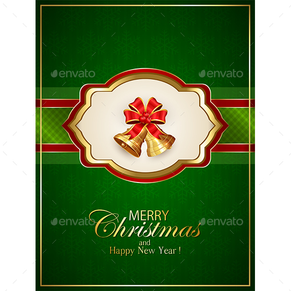 Card with Christmas Bells and Bow on Green Background - Christmas Seasons/Holidays