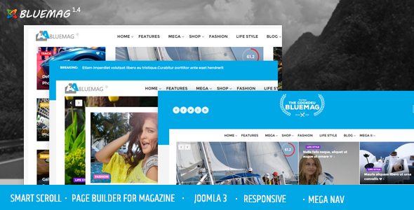 Bluemag - Magazine Blogging Joomla 3 Responsive Templates - News / Editorial Blog / Magazine