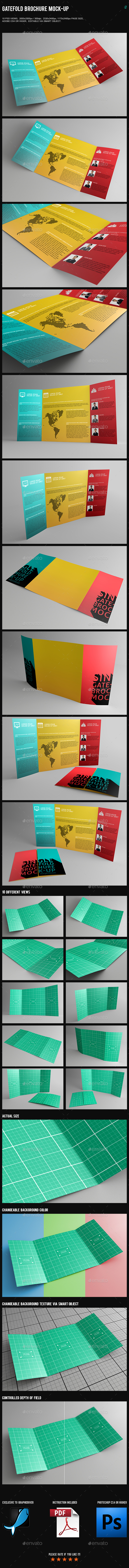 Gatefold Brochure Mock Up   Brochures Print