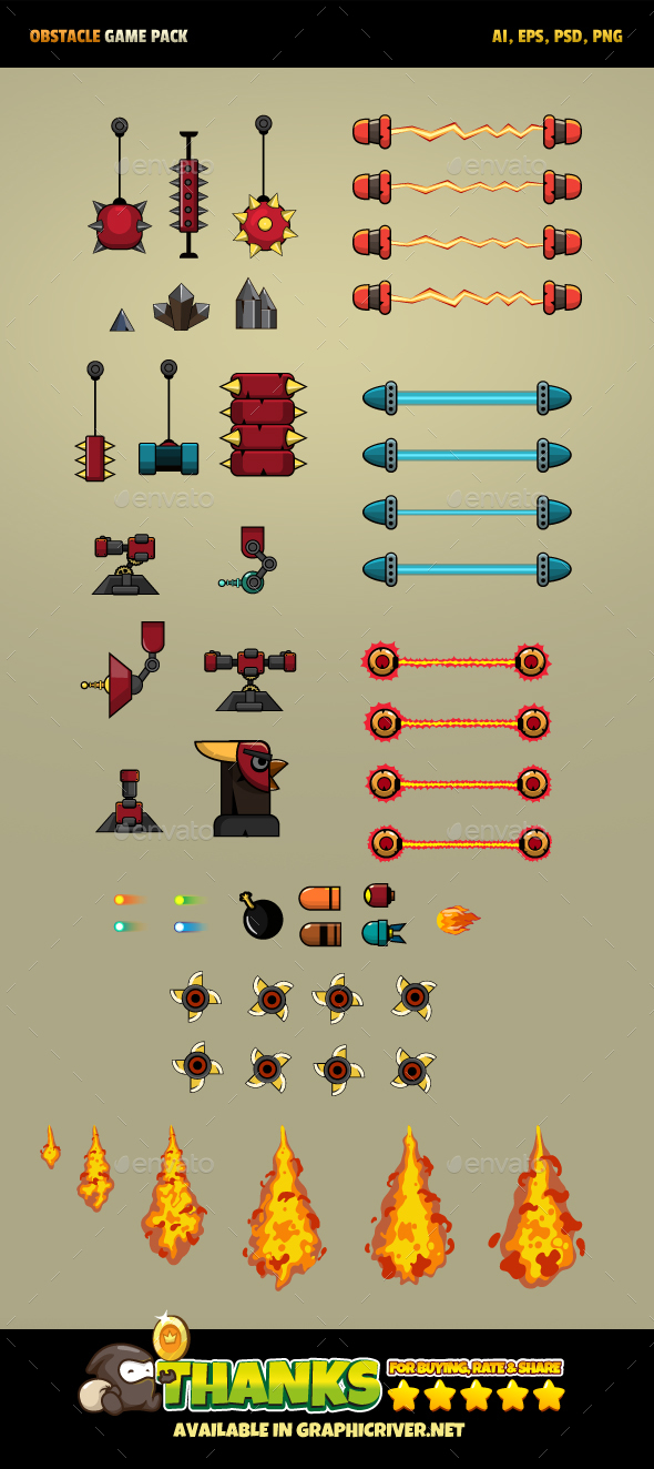 19 Obstacles Game - Miscellaneous Game Assets