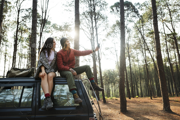 Backpacker Couple Travel Adventure Happiness Concept - Stock Photo - Images