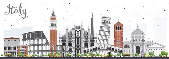 Italy Skyline with Landmarks - Buildings Objects