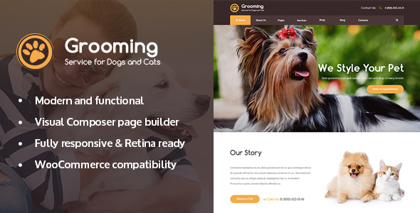 Pet Grooming / Pet Shop / Veterinary WordPress Theme - Retail WordPress