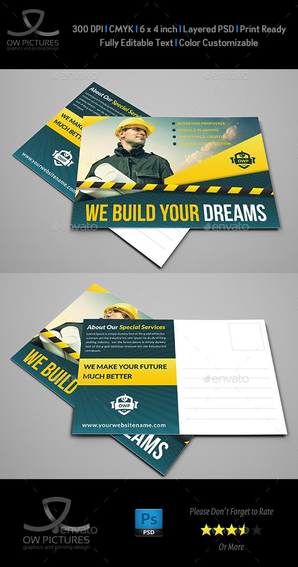 Construction Postcard Template Vol.2 - Cards & Invites Print Templates