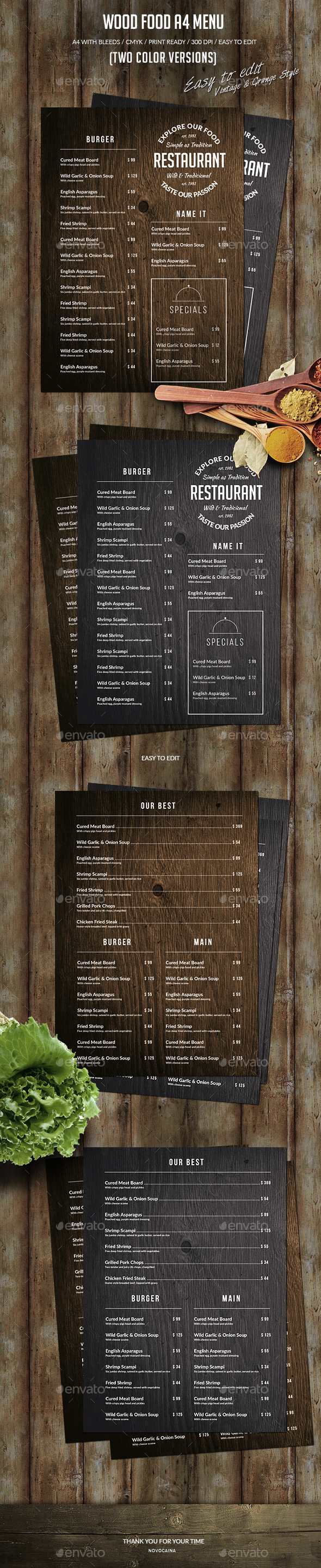 Wood Food A4 Menu - Food Menus Print Templates