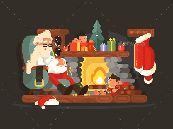 Santa Claus on Chair Near Fireplace - Christmas Seasons/Holidays