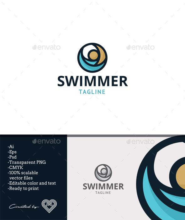 Swimmer - Humans Logo Templates