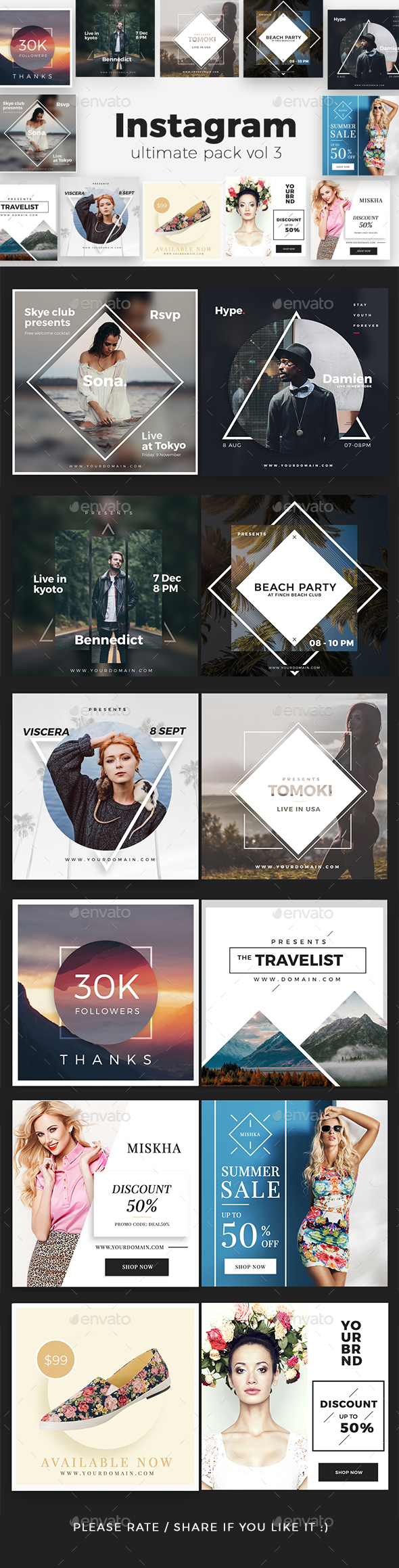 Instagram Pack Vol 3 - Social Media Web Elements