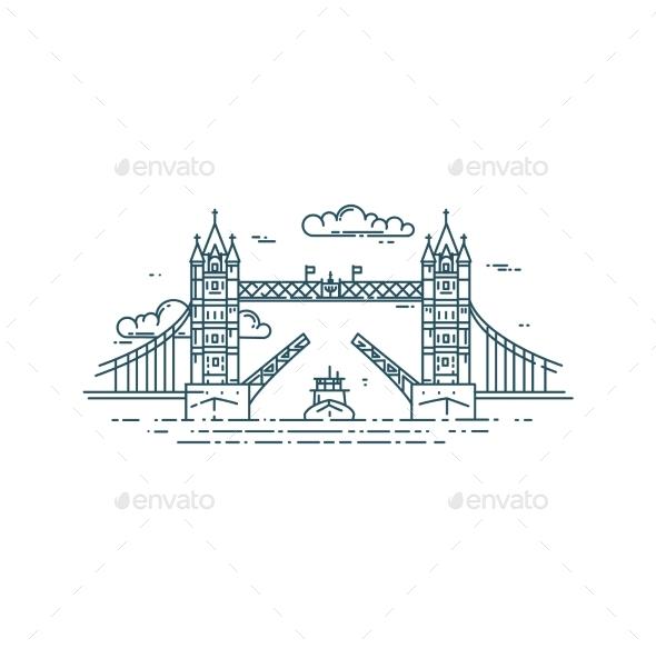 Tower Bridge in London Raised - Buildings Objects