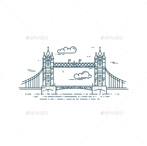 Tower Bridge in London - Buildings Objects