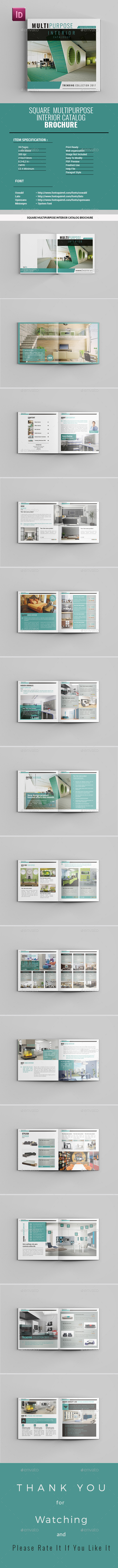 Square Multipurpose Interior Catalog Brochure - Catalogs Brochures