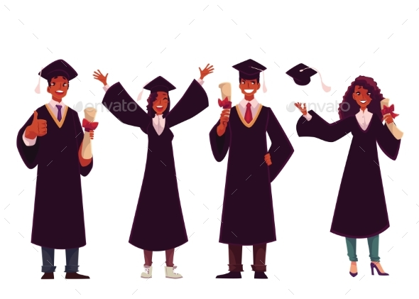 Students in Traditional Caps and Gowns - People Characters