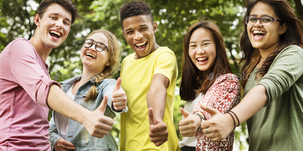 Diverse Group Young People Thumb Up Concept - Stock Photo - Images