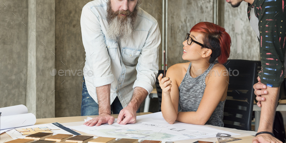 Design Studio Architect Creative Occupation Meeting Blueprint Co - Stock Photo - Images