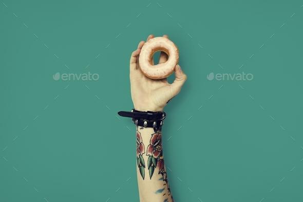 Tattoo Woman Dounut Doughnut Dessert Pastry Concept - Stock Photo - Images