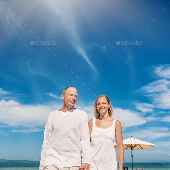 Couple Beach Cheerful Summer Vacation Tropical Concept - Stock Photo - Images