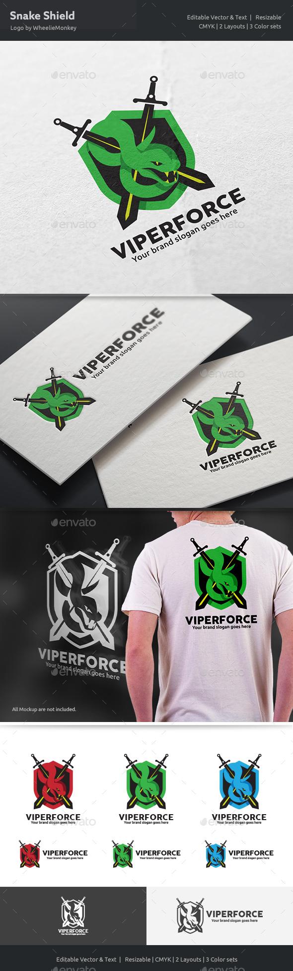 Snake Shield Logo - Vector Abstract