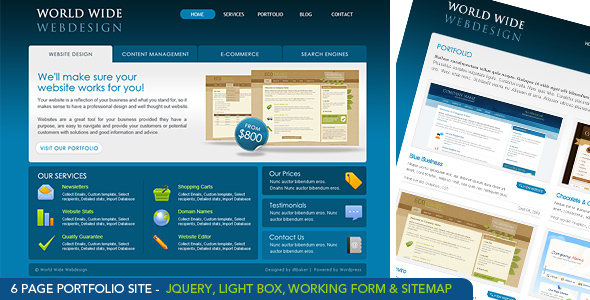 World Wide Webdesign – 6 Page HTML Site & PSD