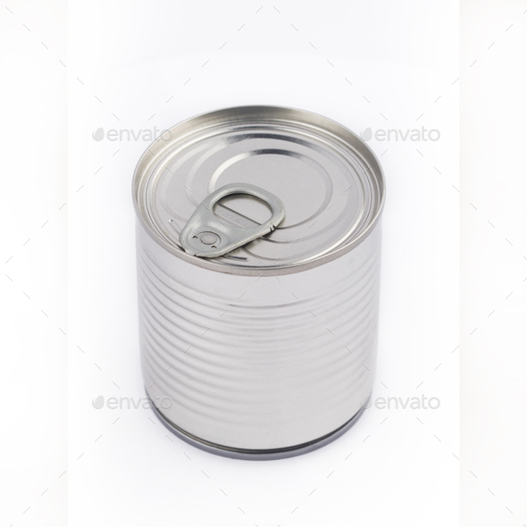 top view of metal can on white background - Stock Photo - Images