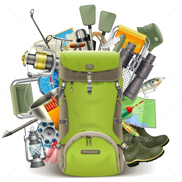 Haversack with Fishing Tackle - Sports/Activity Conceptual