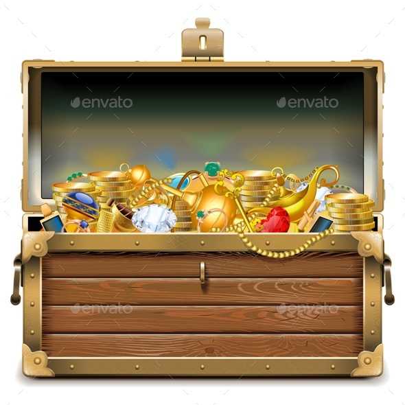 Wooden Chest with Gold - Miscellaneous Vectors