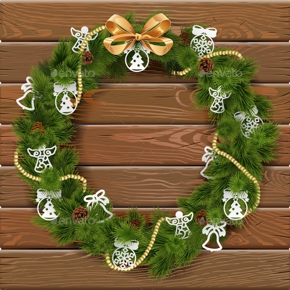 Vector Christmas Wreath on Wooden Board - Christmas Seasons/Holidays