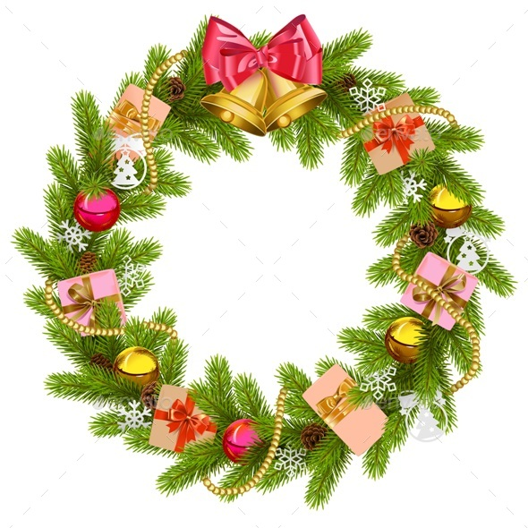 Vector Fir Wreath with Christmas Bell - Christmas Seasons/Holidays