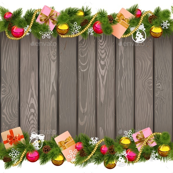 Vector Seamless Christmas Border with Gifts on Old Board - Christmas Seasons/Holidays